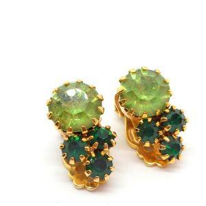 Vintage Two Tone Green Rhinestone Earrings